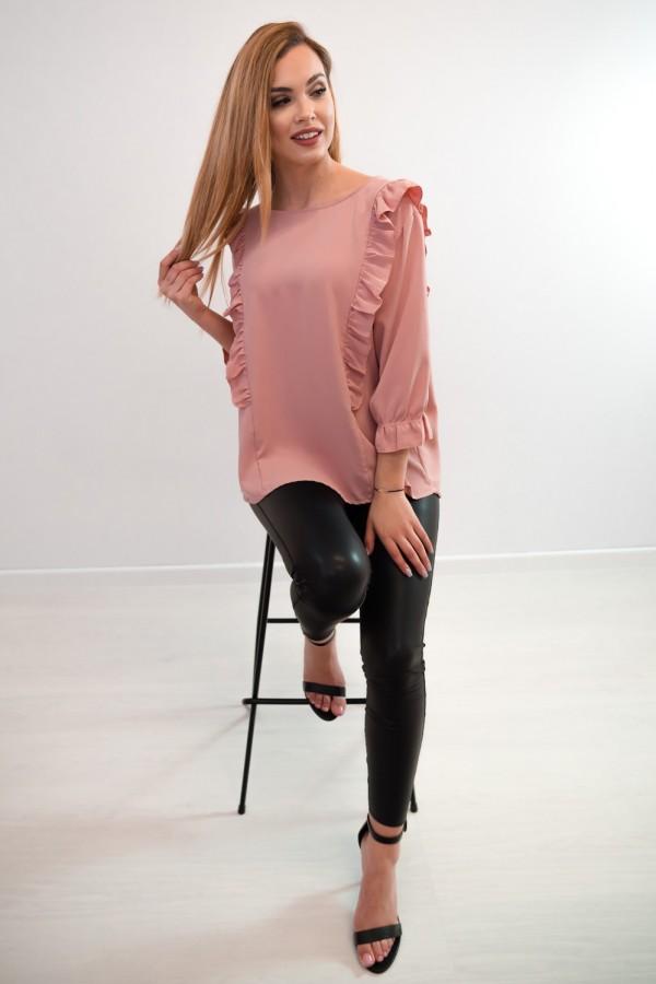Bluzka guziczki na plecach różowa 2