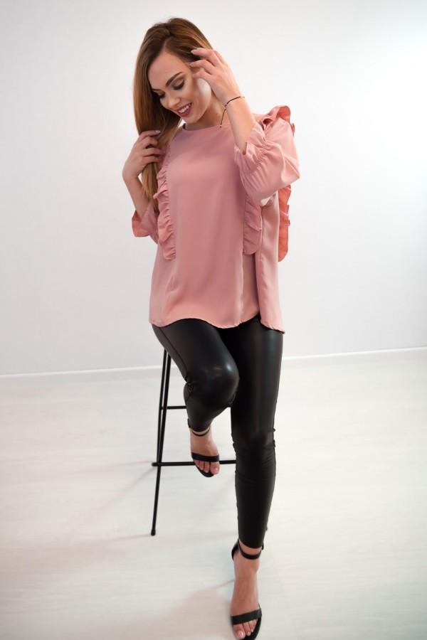 Bluzka guziczki na plecach różowa 3