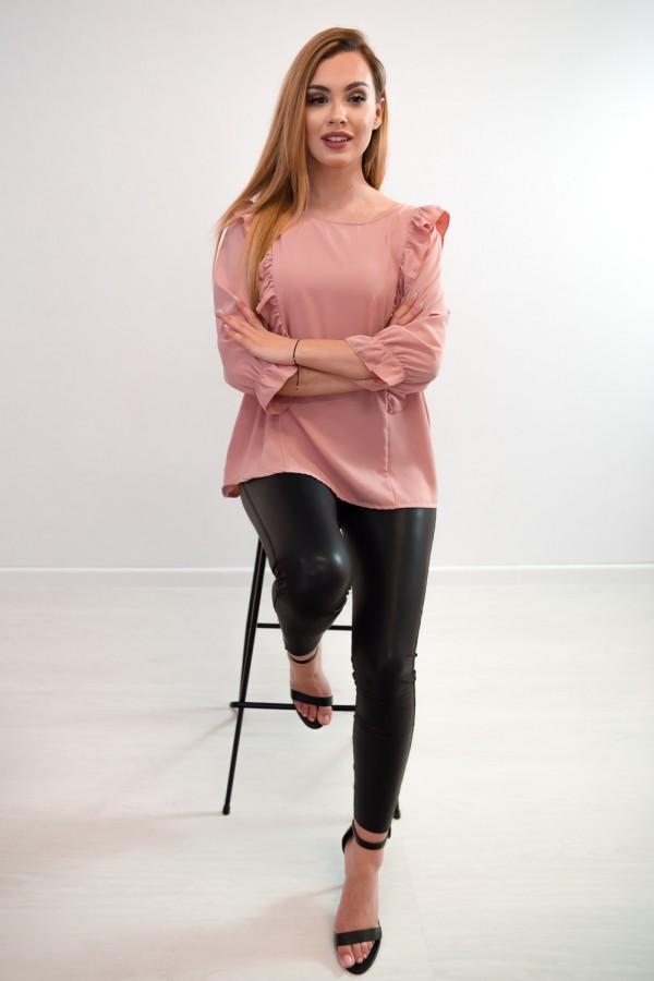 Bluzka guziczki na plecach różowa 4