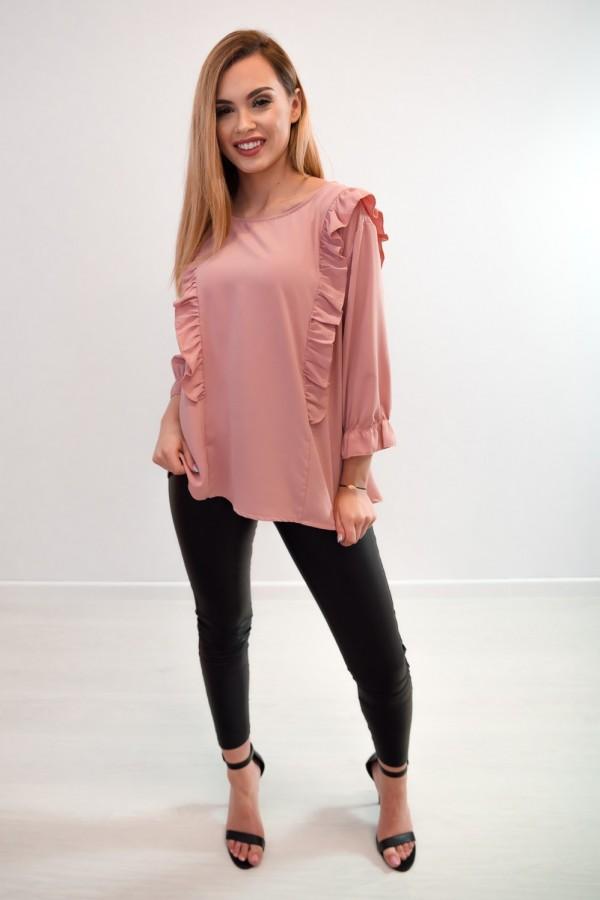 Bluzka guziczki na plecach różowa 5