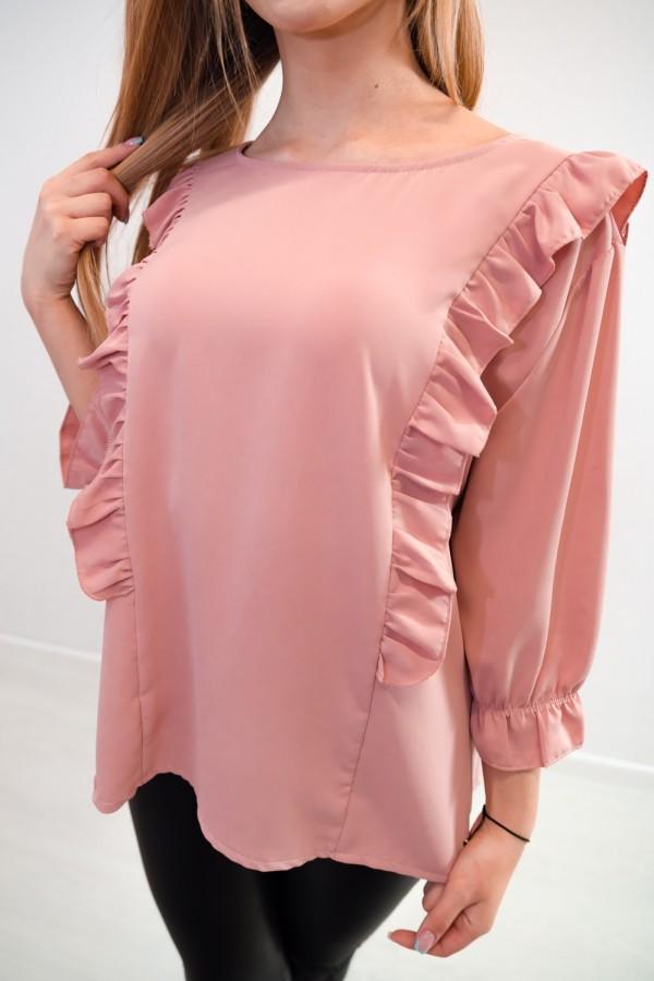 Bluzka guziczki na plecach różowa 6