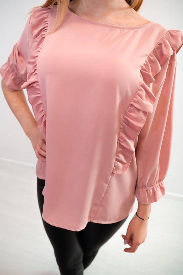 Bluzka guziczki na plecach różowa 7