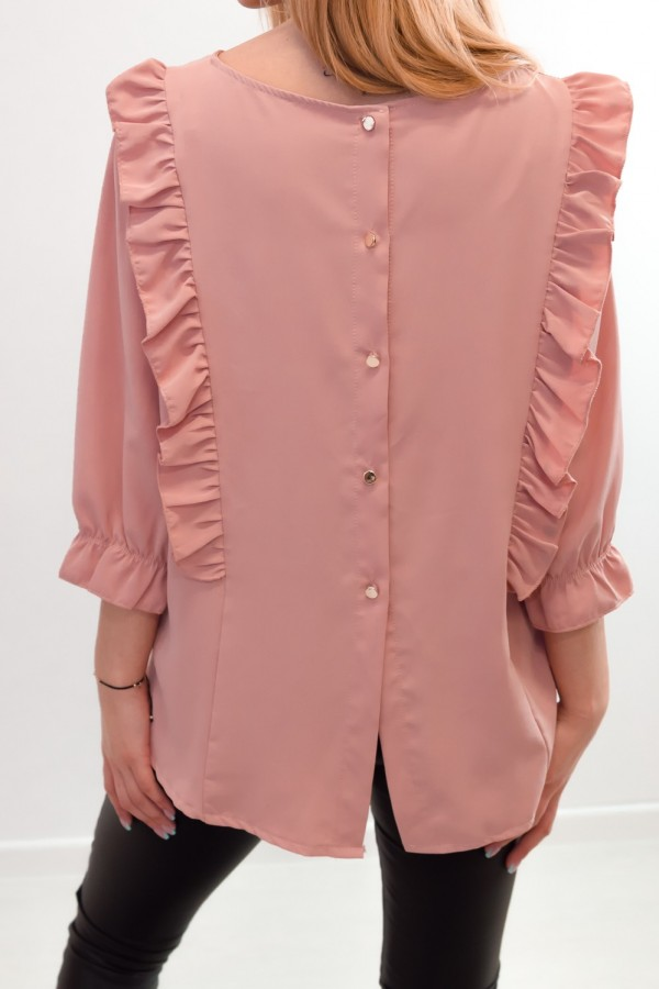 Bluzka guziczki na plecach różowa 8