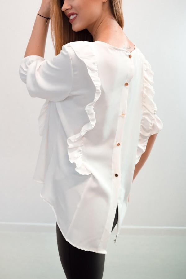 Bluzka guziczki na plecach biała