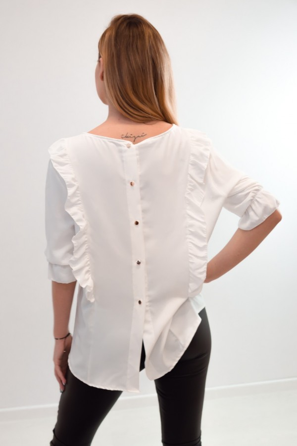 Bluzka guziczki na plecach biała 6