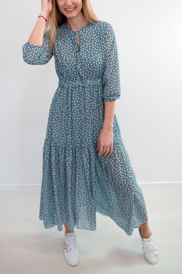 Sukienka maxi niebieska stokrotki