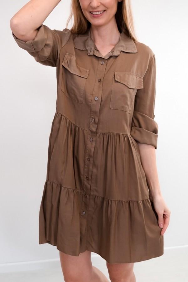 Sukienka koszulowa guziczki mokka