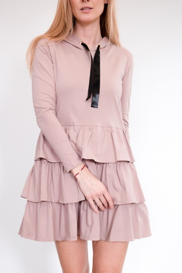 Sukienka dresowa z falbankami różowa
