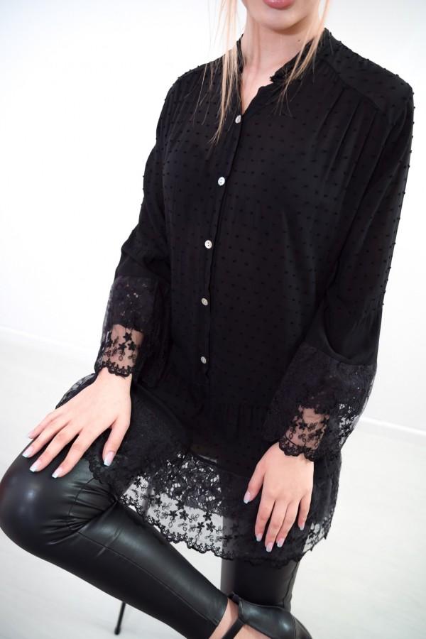 sukienka tunika boho koronka czarna
