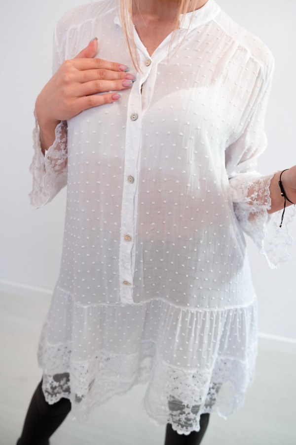 sukienka tunika boho koronka biała