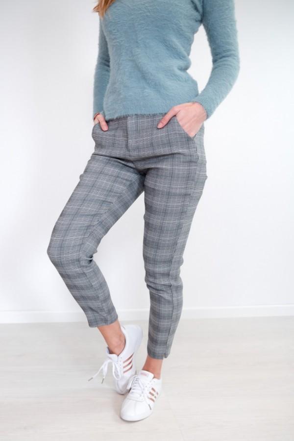 Spodnie w kratkę materiałowe