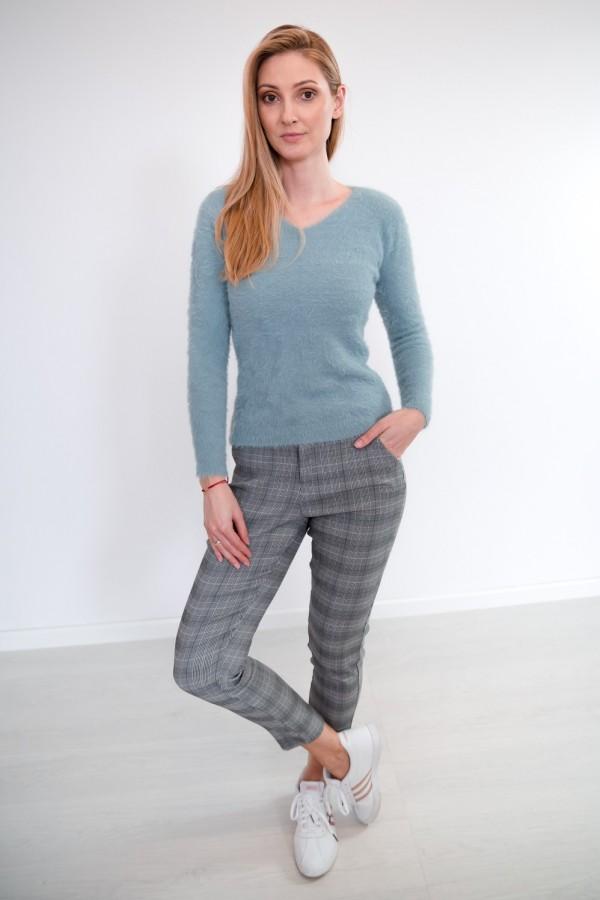 Spodnie w kratkę materiałowe 1