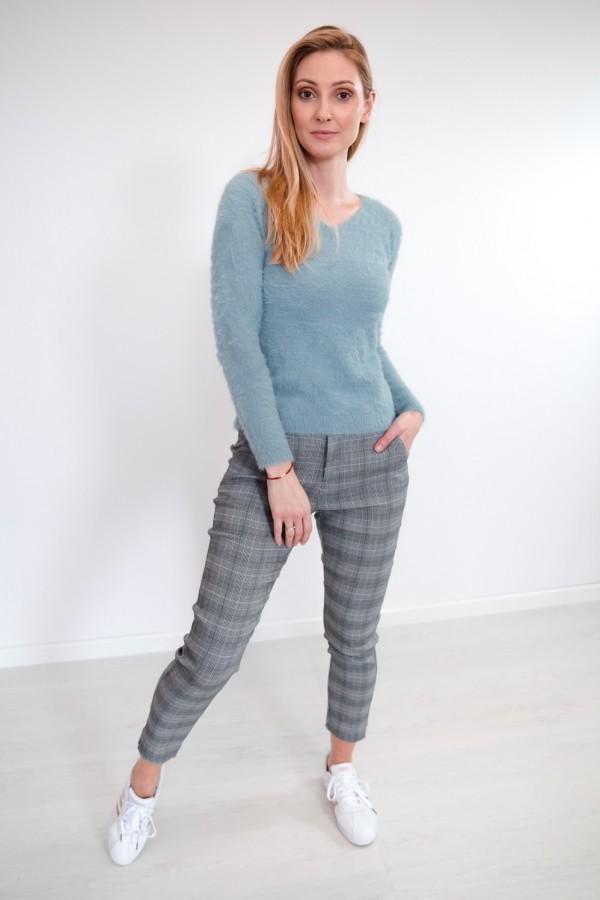 Spodnie w kratkę materiałowe 3