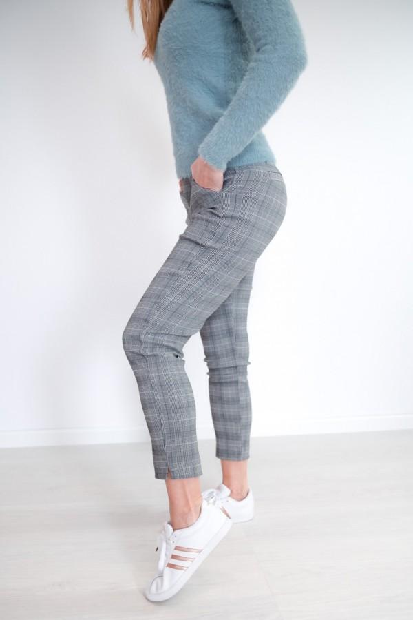 Spodnie w kratkę materiałowe 4