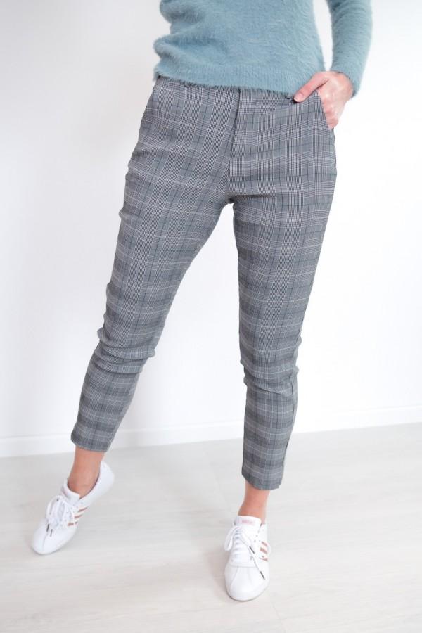Spodnie w kratkę materiałowe 5