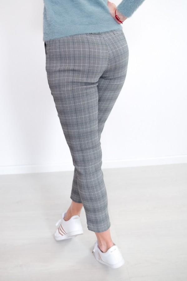 Spodnie w kratkę materiałowe 7
