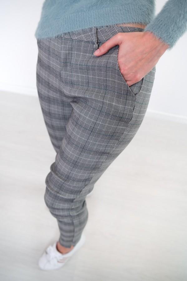 Spodnie w kratkę materiałowe 8