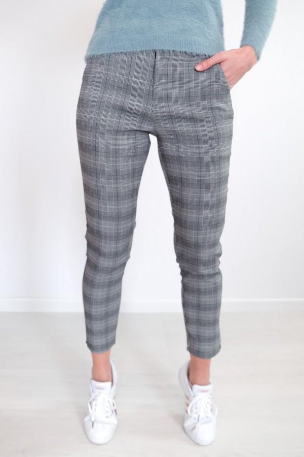 Spodnie w kratkę materiałowe 9