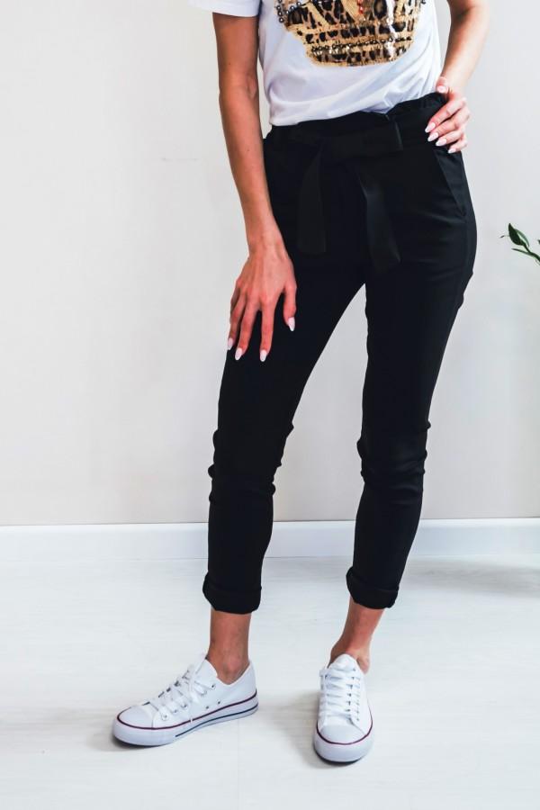 Spodnie materiałowe kokardka czarne
