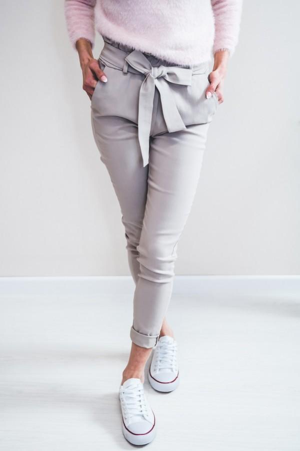 Spodnie materiałowe kokardka jasne szare