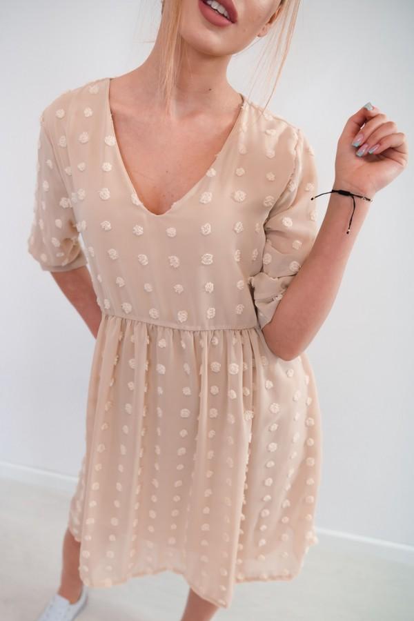 sukienka lekka kropki beż