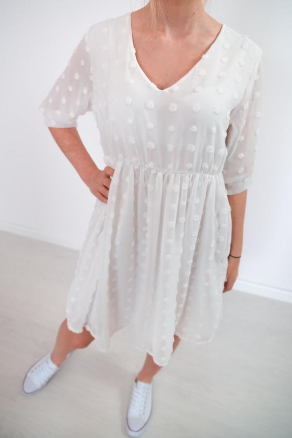 sukienka lekka kropki biała