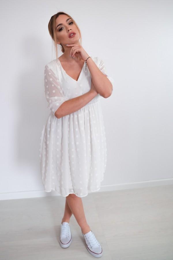 sukienka lekka kropki biała 1