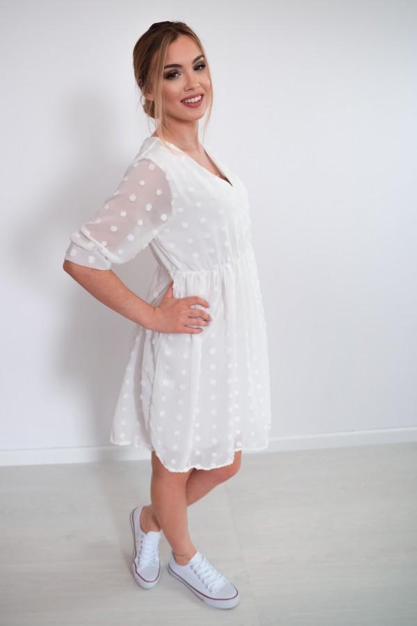 sukienka lekka kropki biała 2