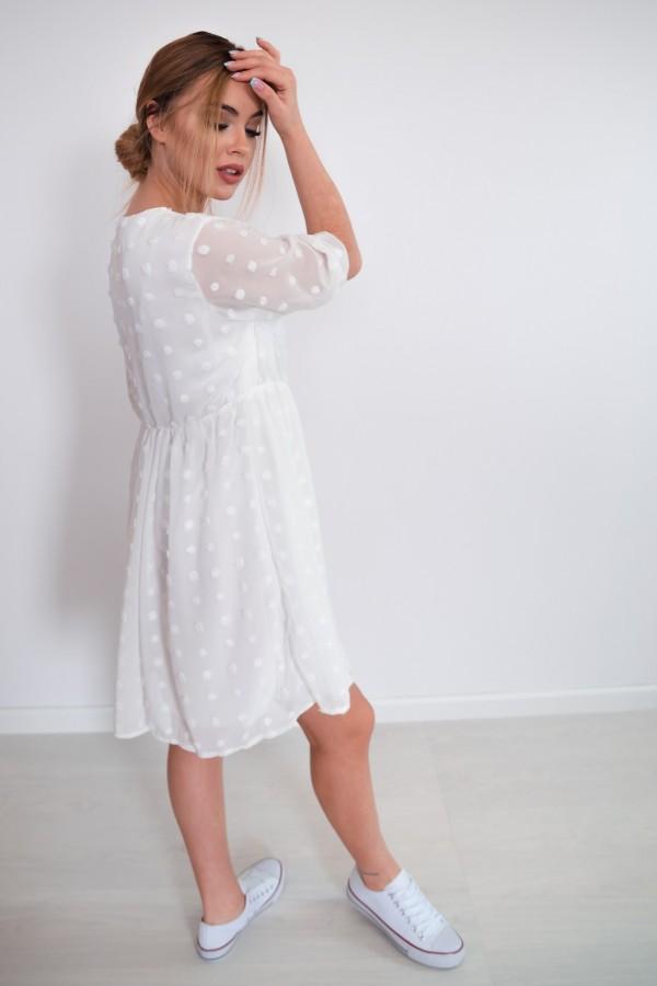 sukienka lekka kropki biała 3