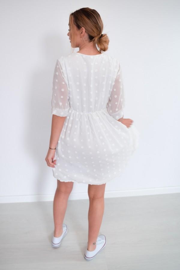 sukienka lekka kropki biała 5