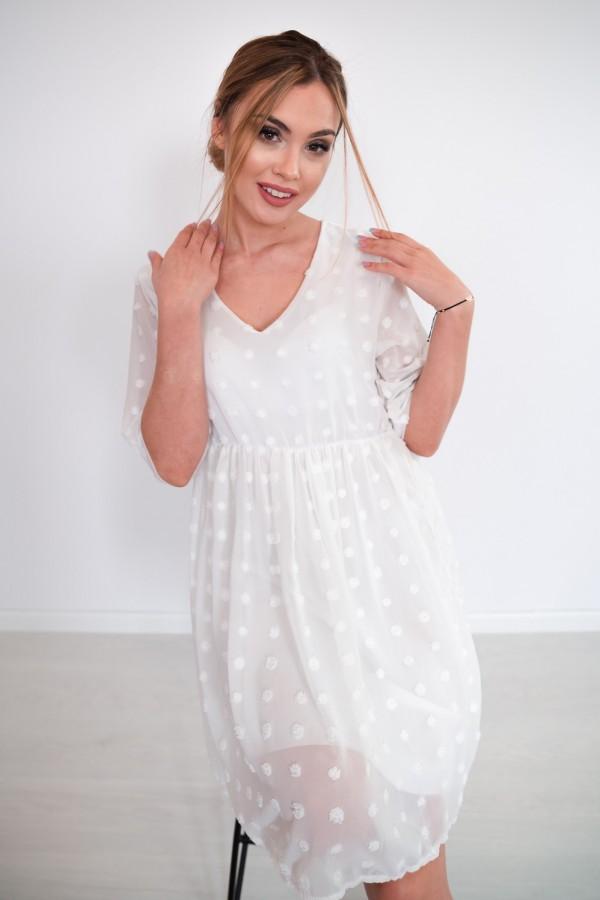 sukienka lekka kropki biała 7