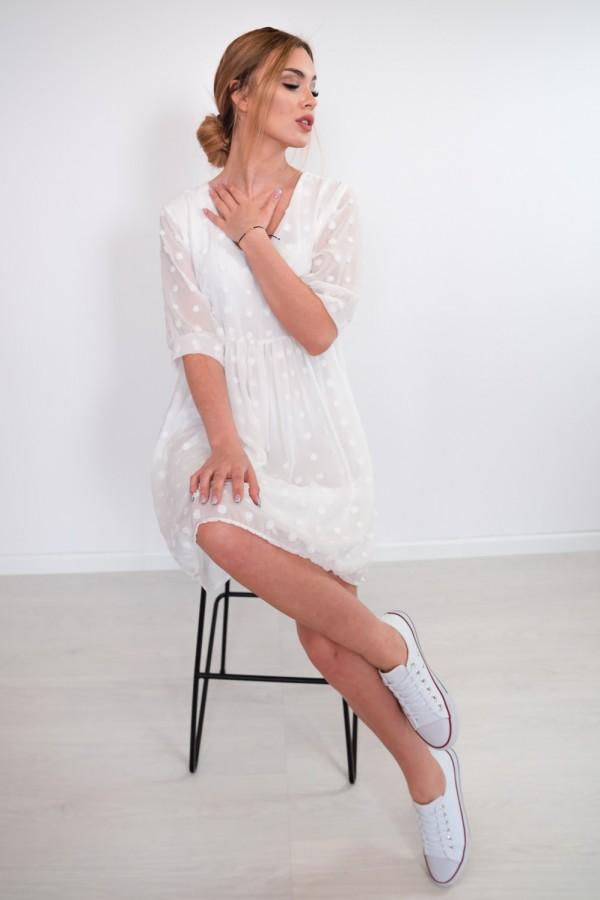 sukienka lekka kropki biała 8