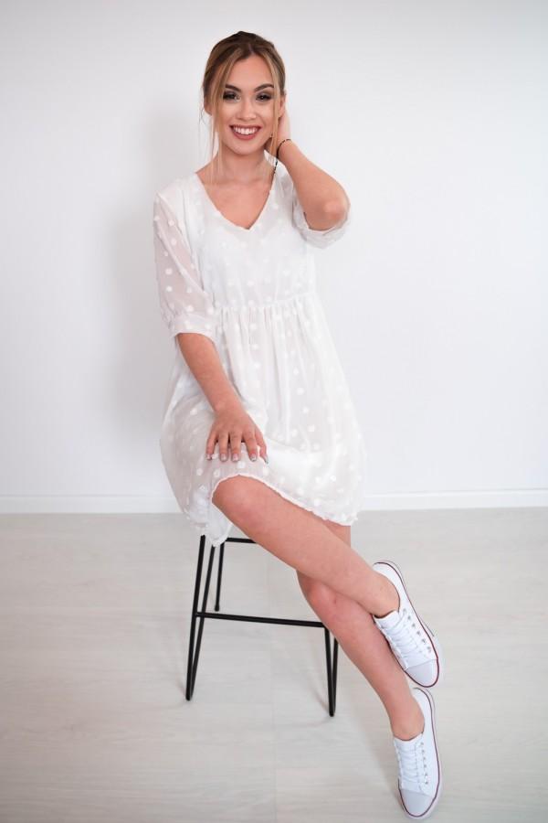 sukienka lekka kropki biała 9