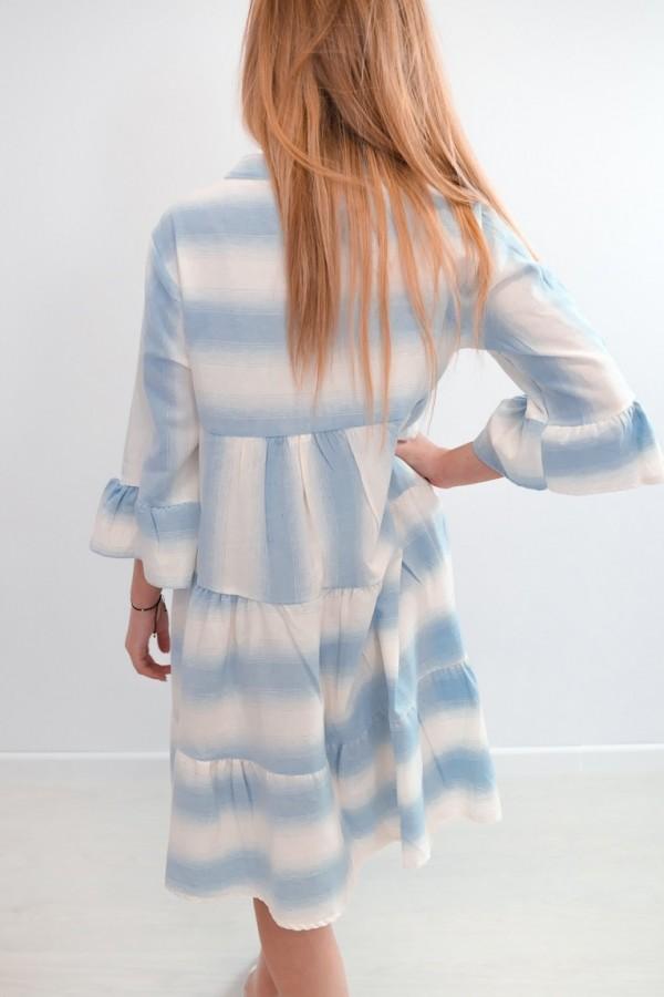 sukienka ombre paski błękitna