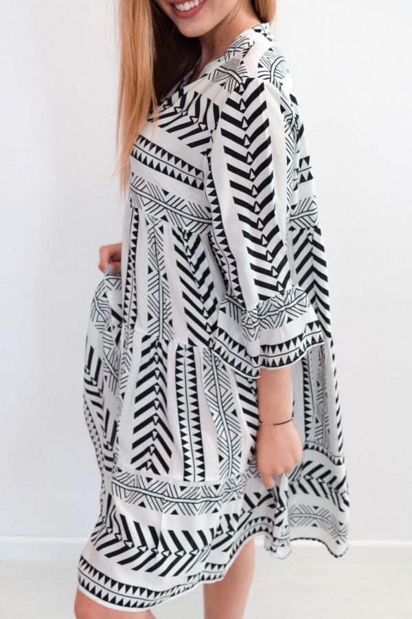 sukienka aztec biało czarna