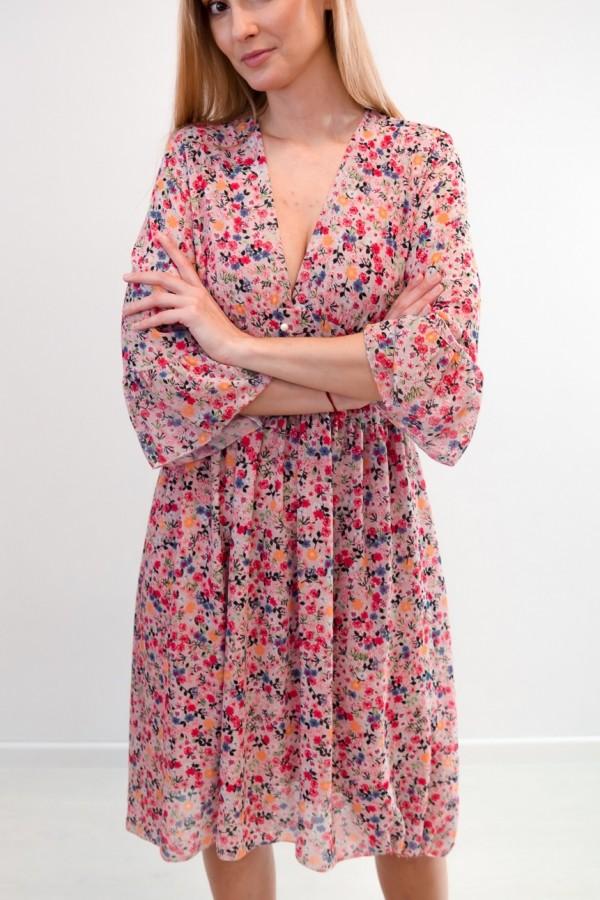 Sukienka kwiaty talia guziczki róż