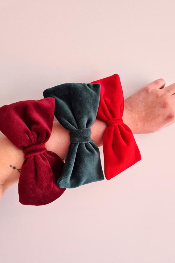 zestaw gumek kokard czerwony zielony bordowy