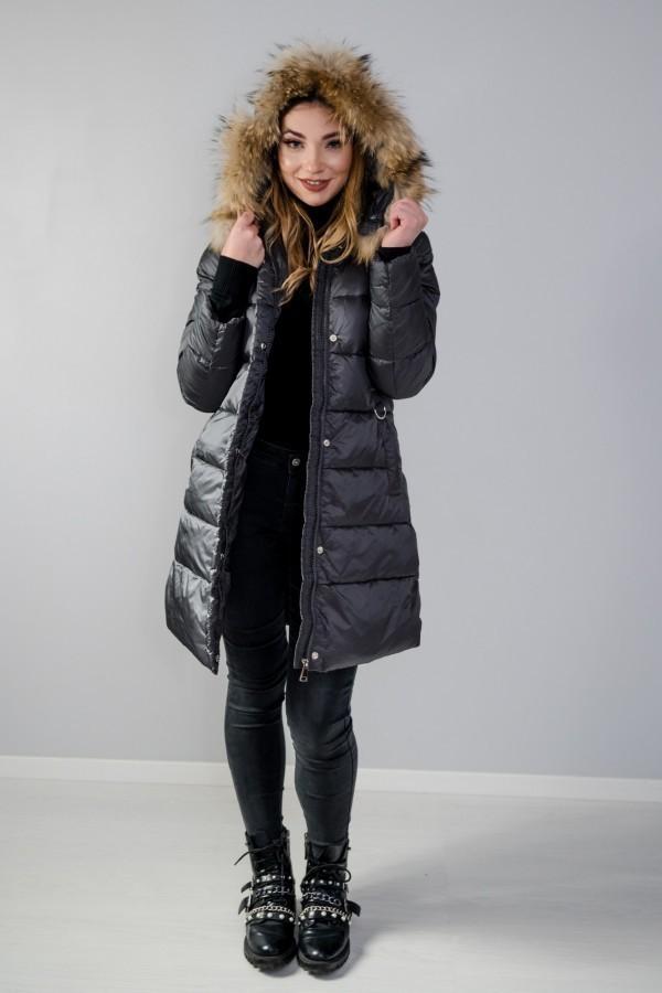 Płaszcz pikowany szary futro