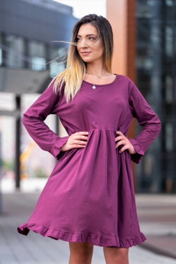 sukienka długi rękaw fiolet