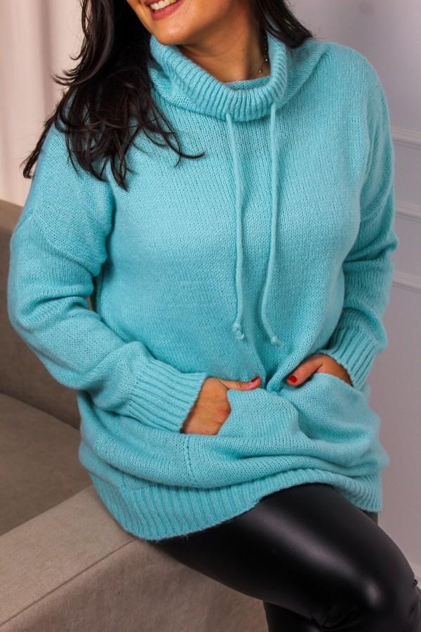Sweter długi turkus Rebel