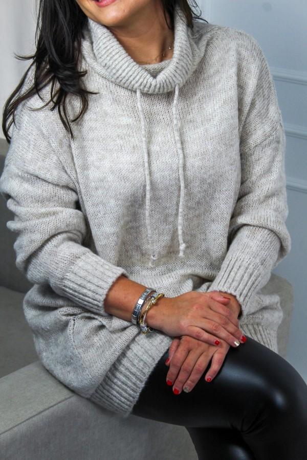 Sweter długi szary Rebel