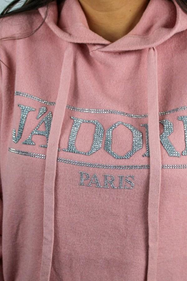 Sweter z kapturem róż Glow 4