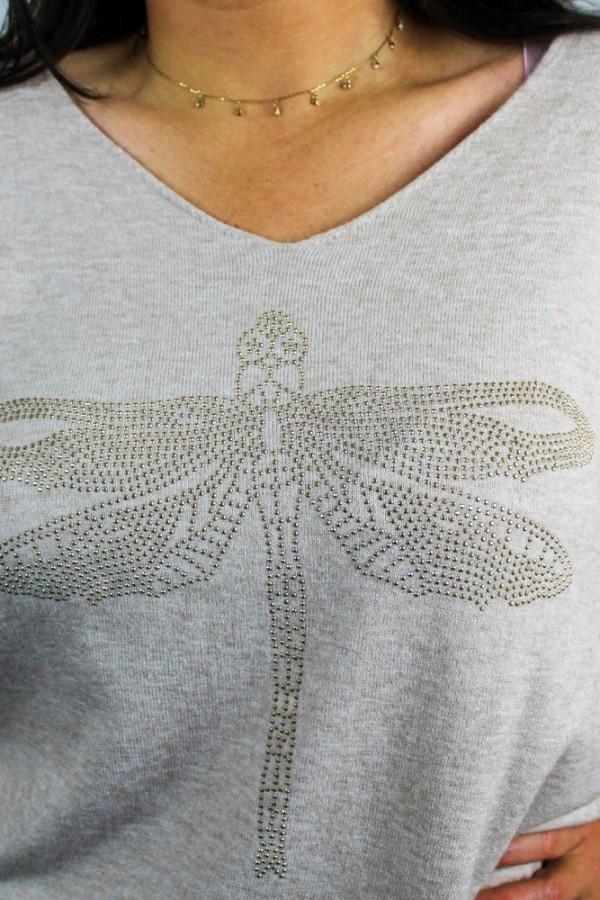 Bluzka dzianinowa beż Dragonfly 3