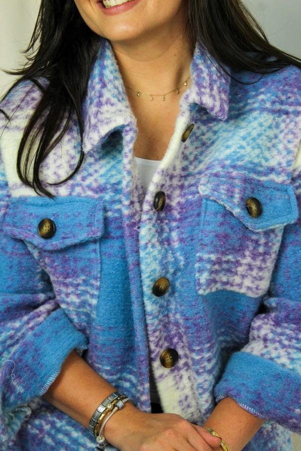 Koszula kurtka krata niebieska Unique 2