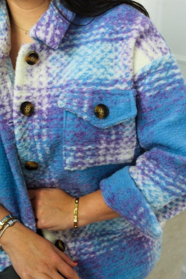 Koszula kurtka krata niebieska Unique 3